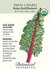 Swiss Chard Ruby Red/Rhubarb Organic HEIRLOOM Seeds